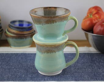 Porcelain coffee brewing cone and mug set in Mint. Pottery, pour over coffee cone, mug and coffee cone set, ceramic, coffee dripper.