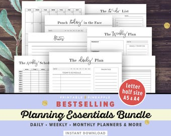 Daily, Weekly Planner Printable Inserts BUNDLE   Life Binder, Filofax A5, A4, Half Size, Letter   Notebook, Agenda, Planner Pages PDF
