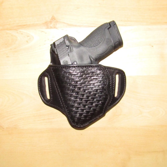 Leather Holster, Embossed Holster, handtooled holster, basket weave, Marijuana stamp inside of leather basket weave holster