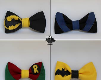 DC Comics Batfamily/villains/Justice League Bowties; Batman, Robin, Batgirl, Nightwing, Superman, Flash, Green Lantern, Harley Quinn