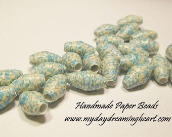 25 Loose Paper Beads Turquoise & Off White Lot Jewelry Craft Macrame Supplies Handmade Made In America USA Maine My Daydreaming Heart Blog