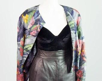 Summer morning flowered short vintage jacket