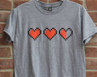 Video game hearts youth tee. Video game life hearts tee. Video gamer shirt.