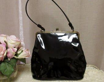 Vintage Patent Leather Purse, c1950s;Vintage Purse;