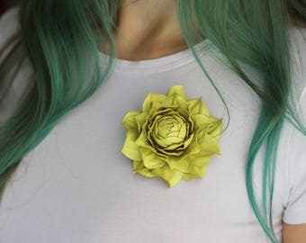 Yellow green leather flower pin / brooch / clip