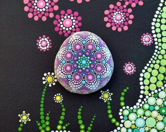 Mandala Stone, hand painted-Emilia-, dot art painting flower gift Fairy dream Ornament unique Décor