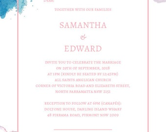 WEDDING/Baptism/Baby Shower/Bridal Shower INVITATIONS - Pastel Watercolour Calligraphy logo