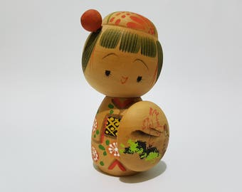 Vintage Japanese Girl Kokeshi Doll with Bangs and Red Hair Ornament, CecysAsianShop