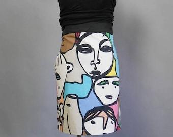 SALE 25% High waist pencil skirt Kitsch bold print mini tight skirt Small size Multicolor faces pattern Ikea GULLVI fabric Office skirt Stre