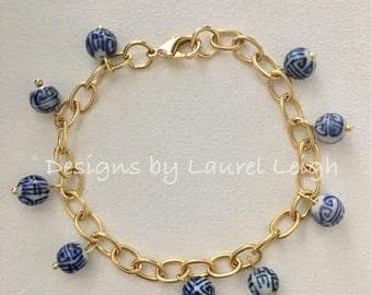 GOLD Chinoiserie Beaded Bracelet | adjustable, charm, blue and white,  Designs by Laurel Leigh, dainty