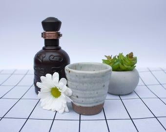Ceramic Shot Glass, stoneware shot glass, small pale grey ceramic cup, handmade ceramic drinking glass, modern kitchen decor, fun gift idea