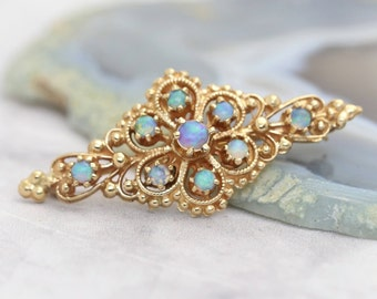 Antique Victorian Style Opal Brooch- 14k Yellow Gold