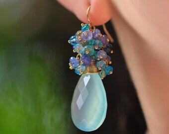 Blue Chalcedony Cluster Earrings Aqua Blue Chalcedony Earrings Tanzanite Earrings Cluster Gold Filled Blue Gemstone Earrings Large Briolette