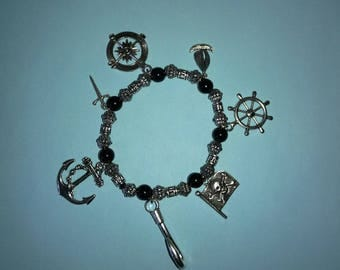 Captain Hook Bracelet Once Upon a Time black and silver