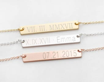 Roman Numeral Necklace, Roman Dates Necklaces, Date Bar Necklace, Birthday Necklace, Anniversary Necklaces, Numbers Necklace, Friends Gift