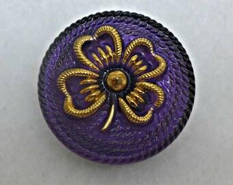 Czech glass button - purple, gold - 27mm