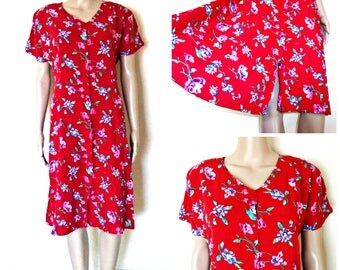 Vintage Dress - Floral - Knee - Button Down Dress - Summer