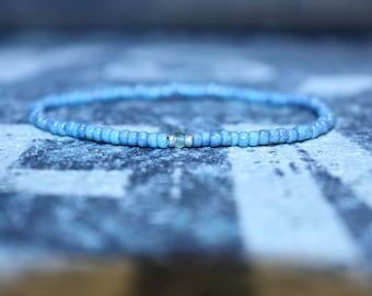 Jade bracelet, Olive green bracelet - Stretch bracelet - New Jade (Serpentine)