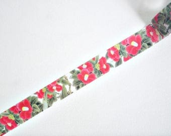 Bright Red Flowers Japanese Washi Tape, Masking Tape, Planner Stickers, Decorative Stickers - WT348