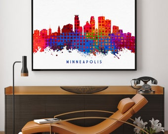 Minneapolis Skyline Print, Minneapolis Art, Skyline Art, Home Wall Art Decor, Minnesota Art, Room Decor, Giclee Print (N118)