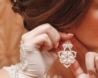 tatting jewelry Earrings  Viola Chandelier Earrings lace earrings gift for her lace jewelry