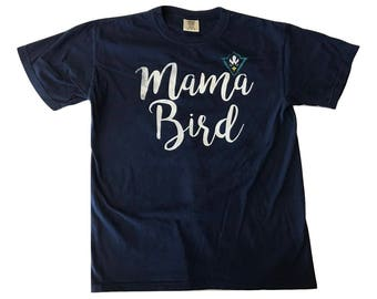 Mama Bird Cursive - T Shirt - Navy ( comfort Color )