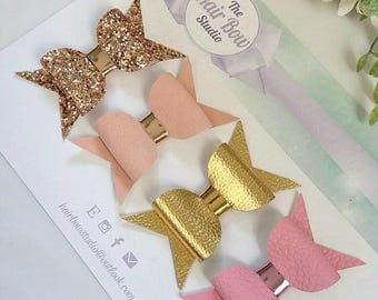 Hair bows, rose gold, bridal, pink, blush dusty pink, gold,glitter, leatherette,headband, hair clip, girls gift, birthday, uk