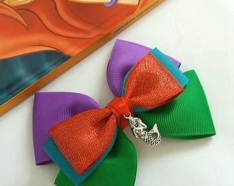 Ariel inspired,Hair Bow, The Little Mermaid,Baby Headband, Turquoise, Green,Purple, Red,Princess, Charm,Disney,Party,Uk