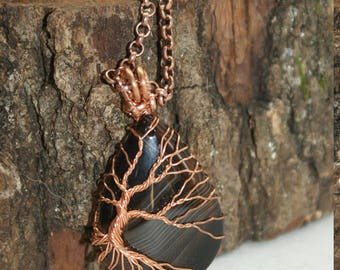Tree of life, Agate, copper necklace.