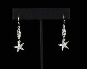 Starfish with Extender Hanging Earrings in .925 Sterling Silver