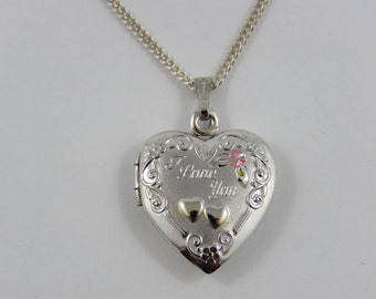 """Sterling Silver  Heart Shaped """"I Love You""""  Locket With an 18"""" Chain"""
