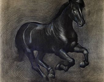 Black Horse Original Drawing with Black Pencil, Charcoal on Drawing Paper, Thunder Horse Drawing By Ezartesa