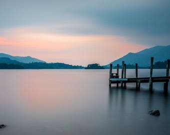 Panoramic  colour photograph of Ashness Jetty , Derwent Water, Keswick in the Lake District