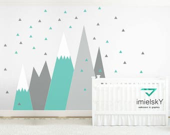 Mountains Wall Decal NURSERY Crib Wall Art Triangle Snowflake Wall Protection For kids Room Corner Pattern Sticker self adhesive Decor
