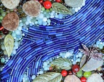 Beaded Dragonfly Mosaic Box ~ Mixed Media Mosaic Box ~ Dragonfly Keepsake box ~ Mosaic Art Gift Box