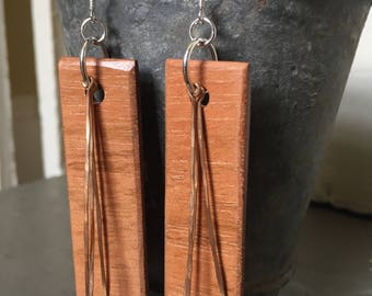Jatoba Wood, Hammered Bronze, and Sterling Silver Earrings