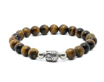 Tiger's Eye Bracelet - Brown Bracelet, Buddha Jewellery, Buddhist Bracelet, Buddha Bracelet, Vegan Jewellery, Dark Beaded Bracelet