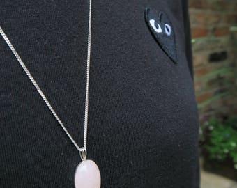 Rose Quartz Necklace - Women's Necklace, Cute Pink Necklace, Rose Quartz Pendant, Gifts for Her, Gemstone Necklace