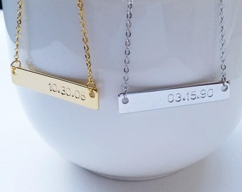Custom Gold Silver Date Name Bar Necklace, Letter Bar Necklace, Bridesmaid Gift, Family Gift