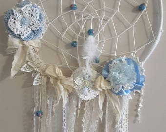 Dream catcher,boho,gypsy,shabby chic,natural feathers, vintage lace, vintage glass beads, baby shower,gift,house warming,