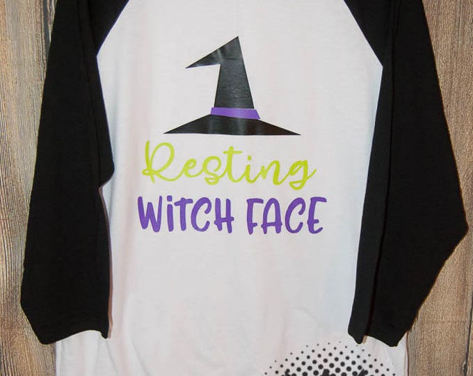 Resting Witch Face T-shirt Adult Raglan Baseball Tee  Vinyl Unisex Cotton Halloween Witch Pumpkin Spice Autumn Fall October Scary Ghosts
