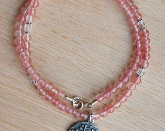 Cherry Quartz Beaded Necklace, tree of life charm, love, healing crystals, gemstone necklace, love, reiki energy, gift for her