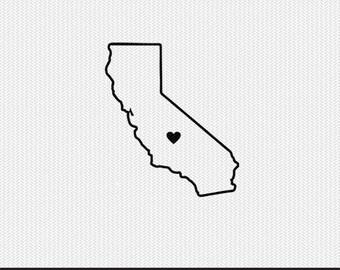 california outline heart svg dxf file stencil monogram frame silhouette cameo cricut clip art commercial use