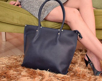 Leather business bag, Leather Tote Bag Zipper, Leather work bag, Large Blue Tote Handles, Zippered Tote Bag, Leather Tote with Zipper