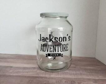 World Map Money Jar Travel Fund 1 Gallon Glass Jug With