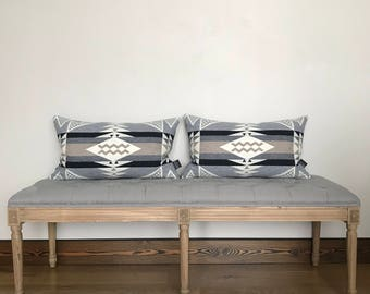 Pendleton pillow cover, wool pillow cover, gray and white pillow, throw pillow