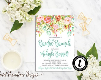Bridal Shower Invitation, Printable Bridal Brunch Invitation, Watercolor Floral Wedding Invitation, Editable Invite, Instant Download
