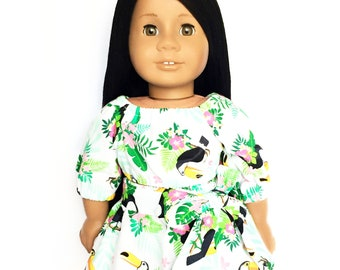 Flare Skirt, Sash Belt, Tropical, White, Green, Pink, Fits dolls such as American Girl, 18 inch Doll Clothes, Mix and Match