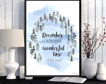 Christmas decor wall, Christmas print, Scandinavian design poster, Home wall decor, Season's greetings, Scandinavian print, Seasonal poster