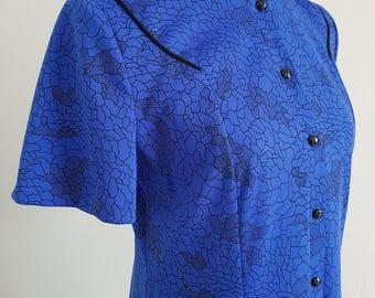1980's Vintage blue patterned shift dress